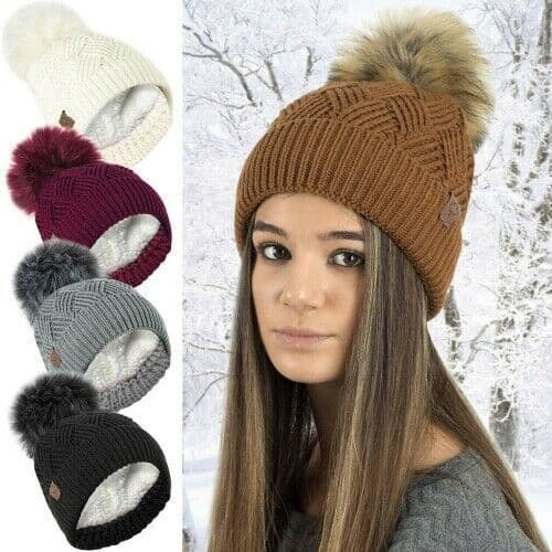 Ladies Winter Hat  Chunky Diamond Cable Knit Hat with Detachable Pom Pom - 154190724390